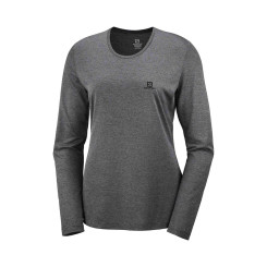 Bluza Alergare Femei Salomon Agile Ls Tee W Ebony/Black/Heather